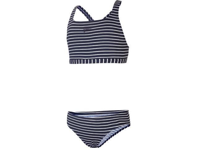 speedo Essential Endurance+ Medalist Bikini Ragazza, 2020 stripe navy/white